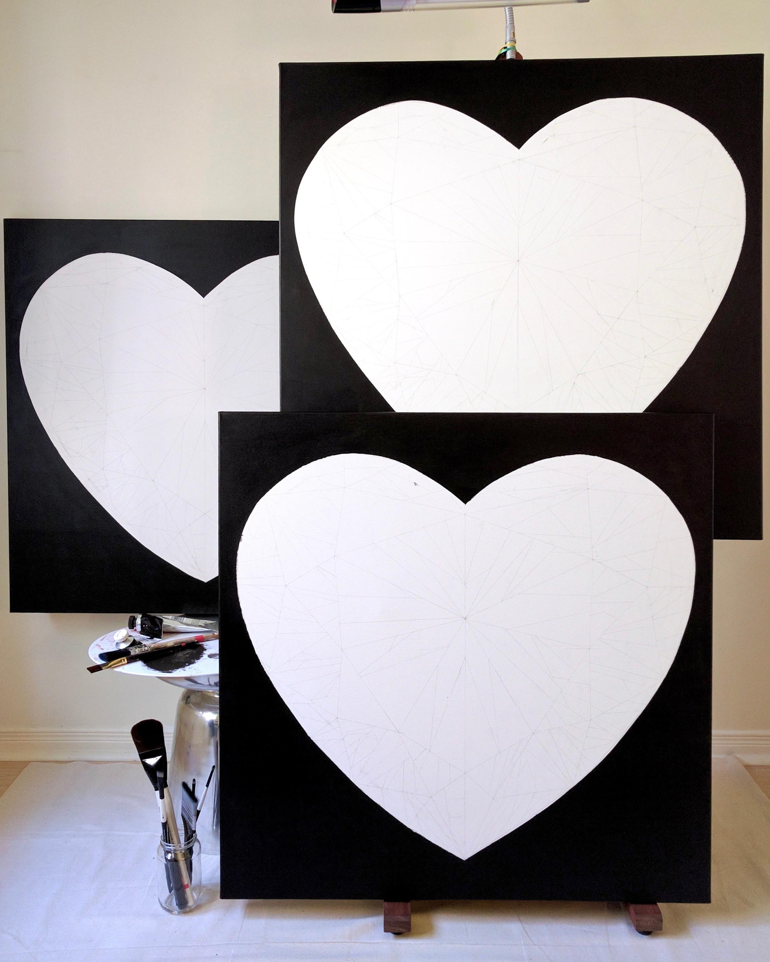 Trio of heart-shaped diamond paintings belong to the 'Diamond Portrait Series' by Reena Ahluwalia. 'Pure Heart' is one of the three heart-shaped diamond painting. ©Reena Ahluwalia