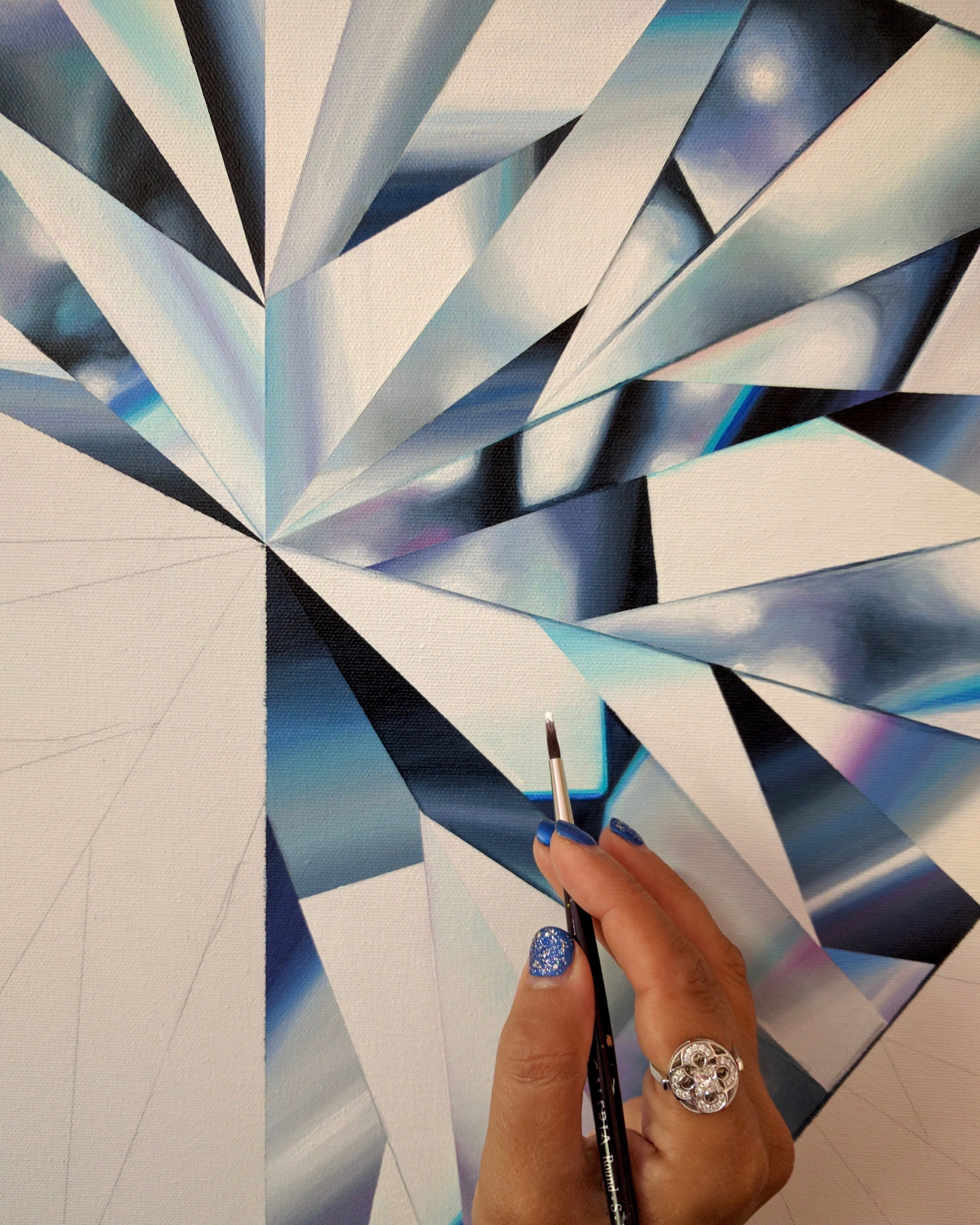 Dazzle & shine B R I G H T, because you can! Detail of 'Pure Heart', my white heart-shaped diamond painting in progress. ©Reena Ahluwalia