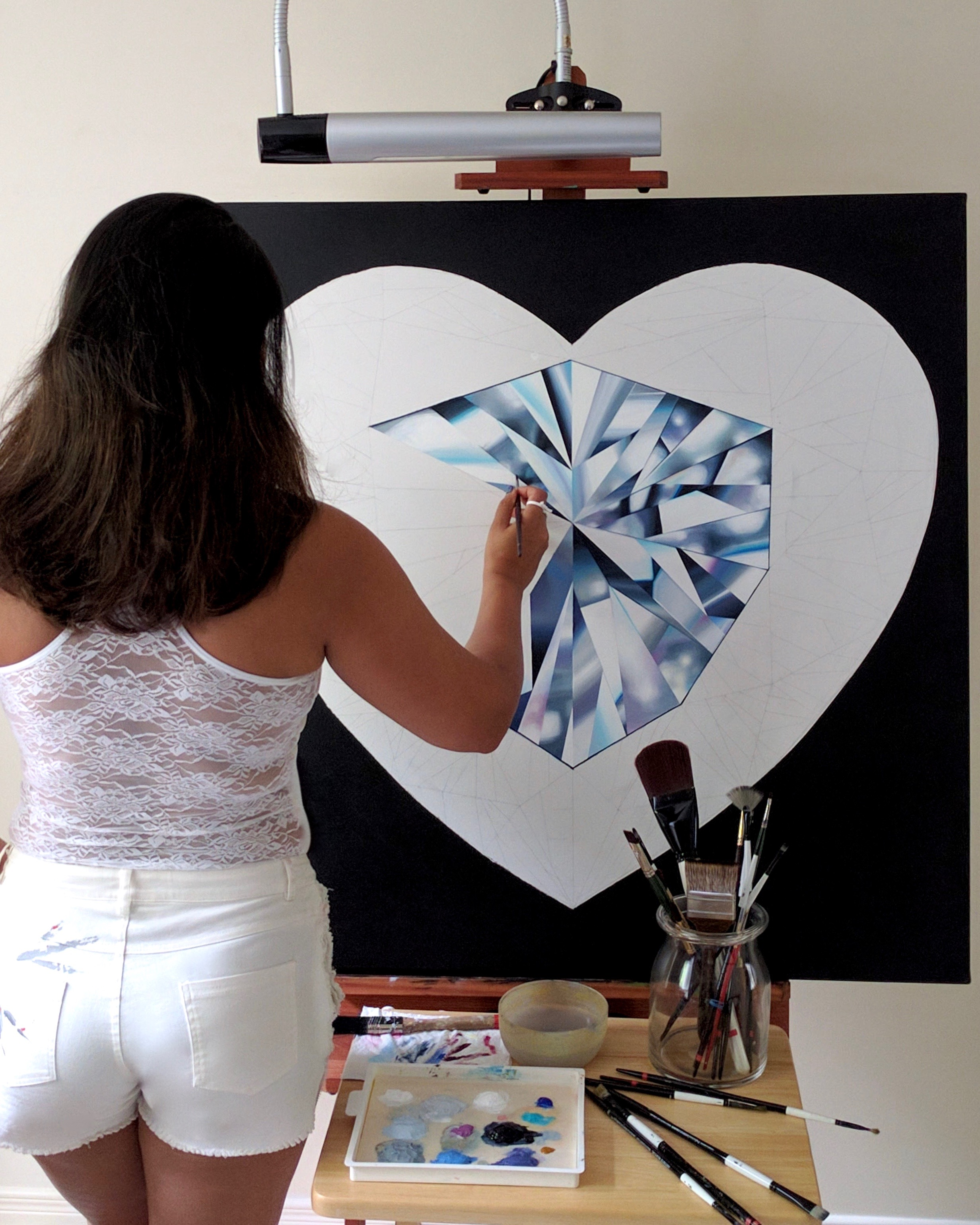 Making of the 'Pure Heart' diamond painting. ©Reena Ahluwalia