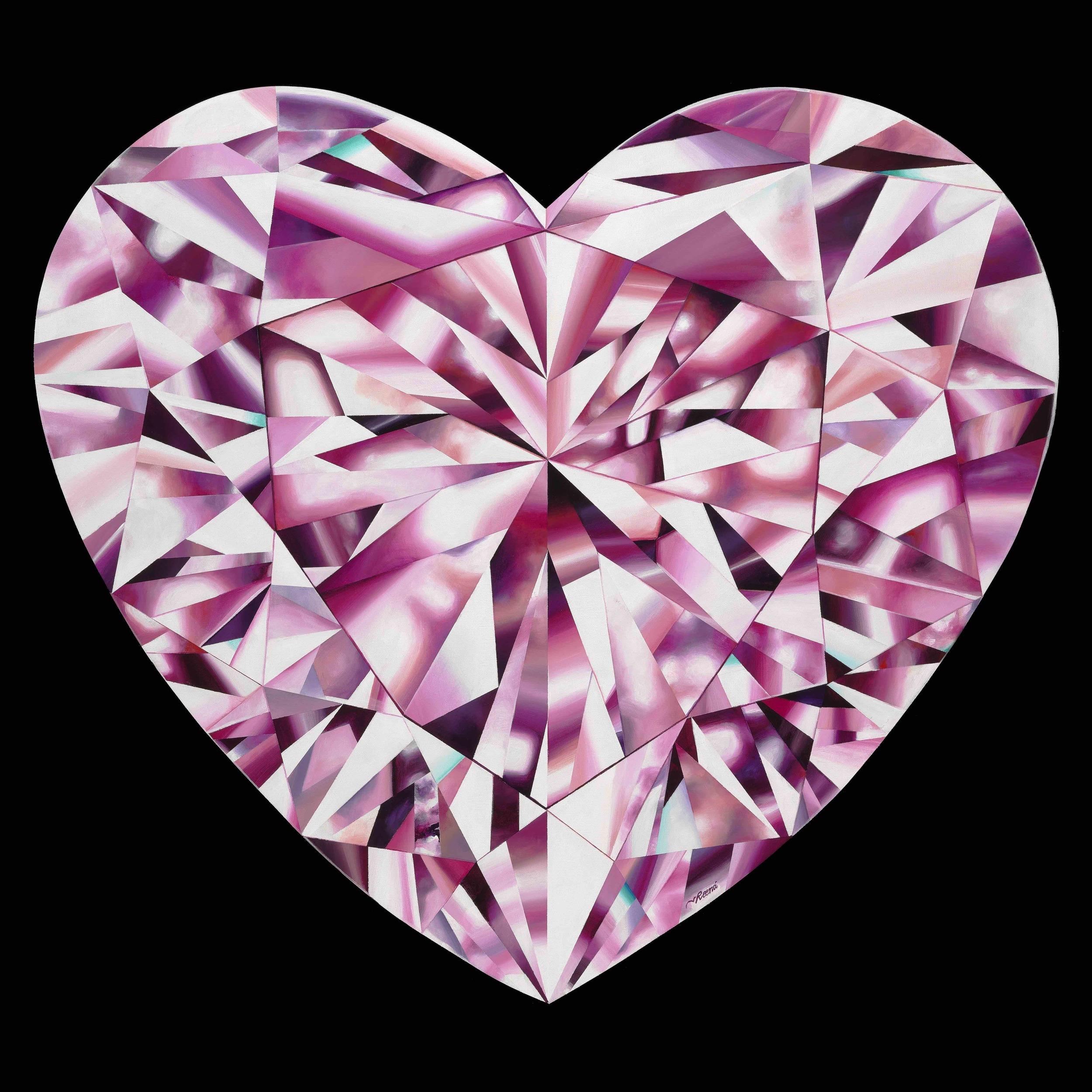 'Passionate Heart' - Portrait of a Pink Heart-Shaped Diamond 36 x 36 inches. Acrylic on Canvas. ©Reena Ahluwalia