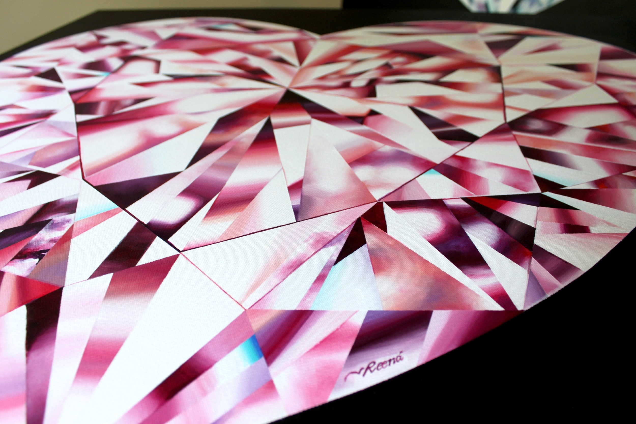 Completed and signed! 'Passionate Heart' - Portrait of a Pink Heart-Shaped Diamond. 36 x 36 inches. Acrylic on Canvas. ©Reena Ahluwalia