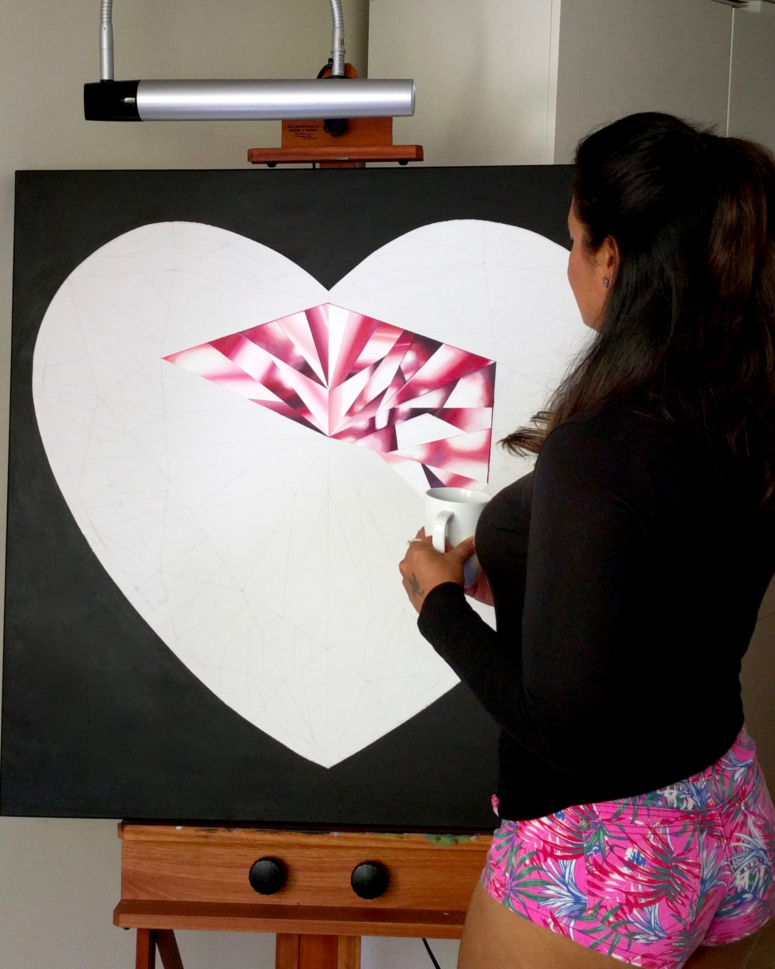 Do it with passion or not at all! In progress, 'Passionate Heart' - Portrait of a Pink Heart-Shaped Diamond. 36 x 36 inches. Acrylic on Canvas. ©Reena Ahluwalia