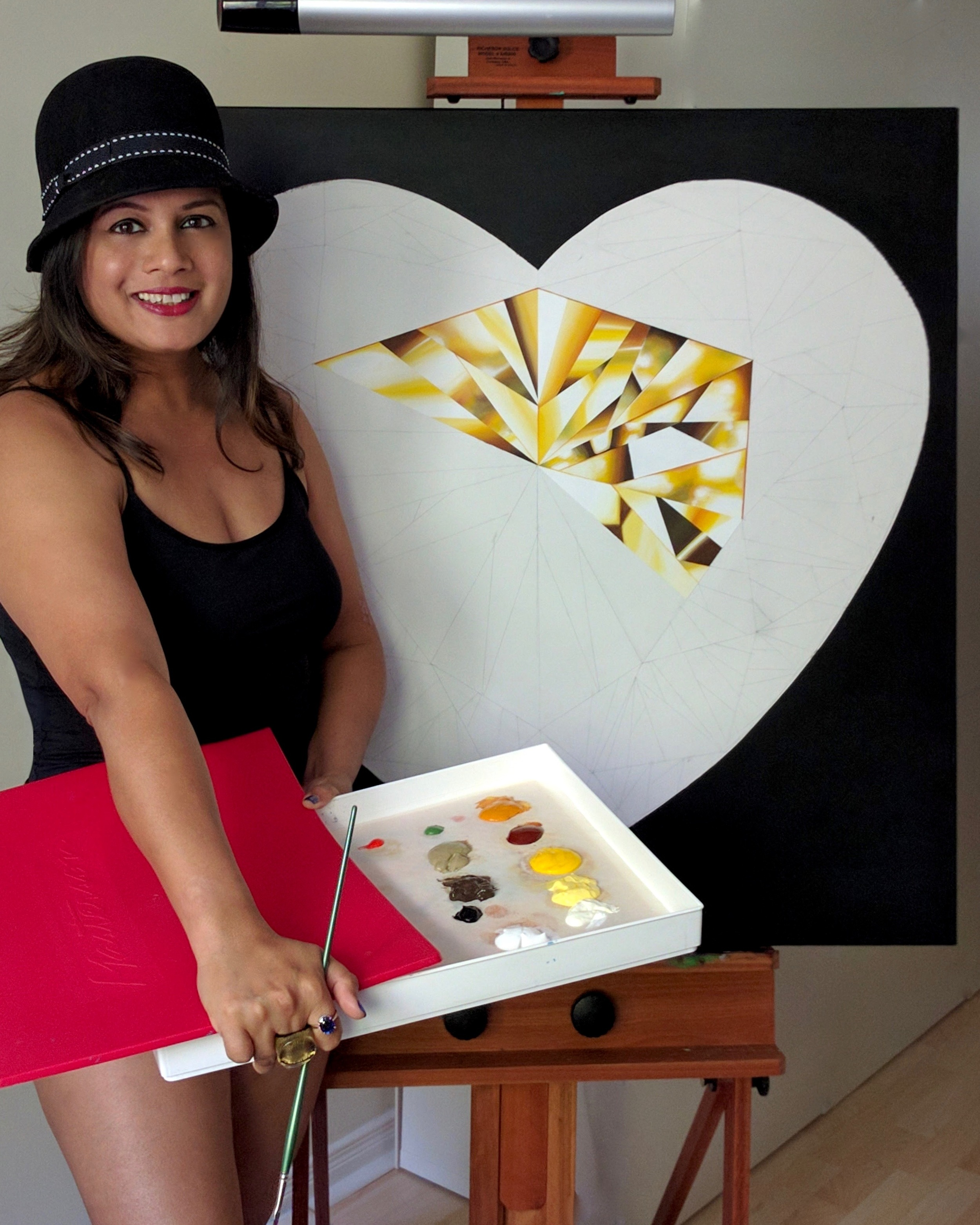 It's that heart of gold, and stardust soul that make you beautiful! Making of the 'Heart of Gold' - Portrait of a Yellow Heart-Shaped Diamond. 36 x 36 inches. Natural Diamond Dust and Acrylic on Canvas. ©Reena Ahluwalia