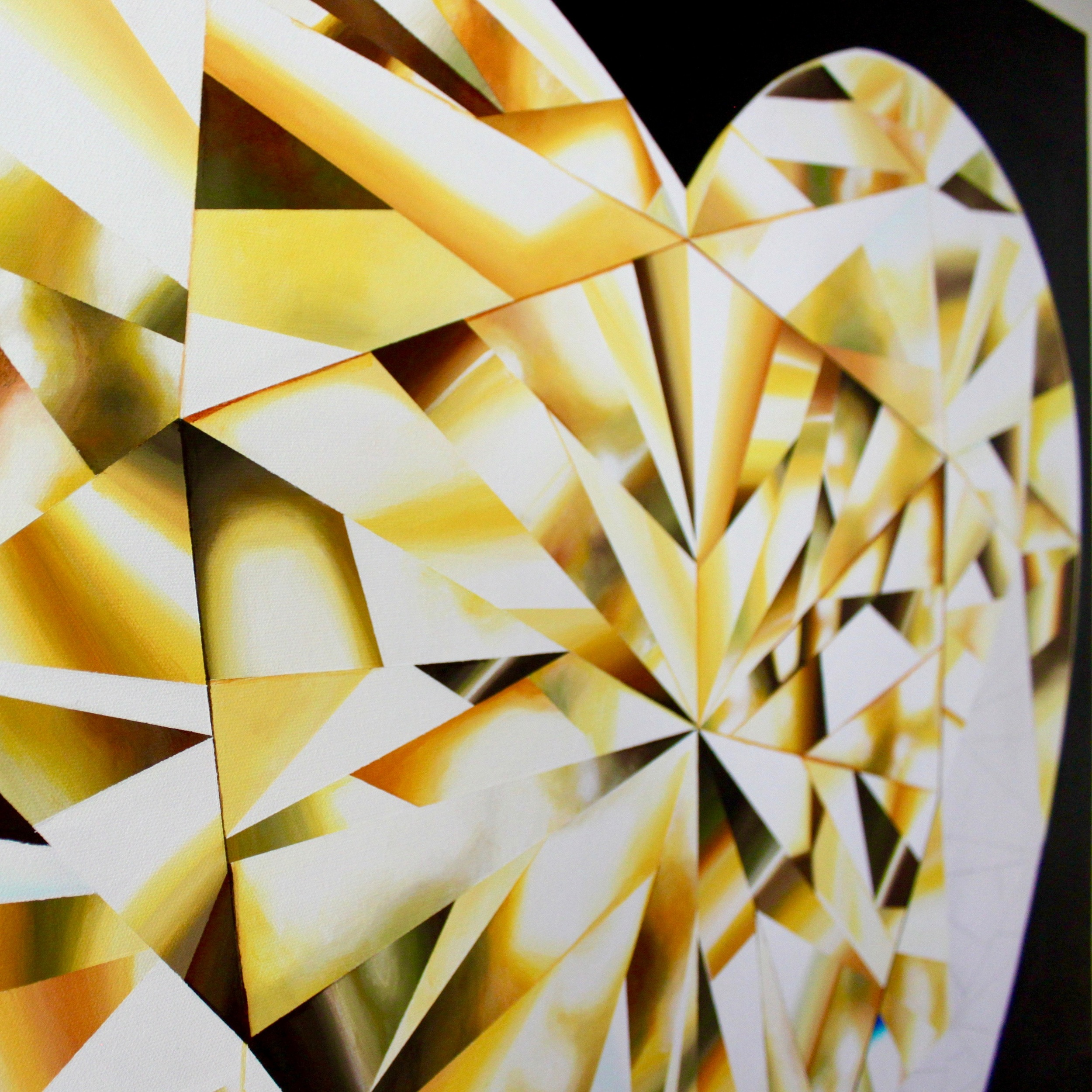 Setting heart on fire, one facet at a time! Progress of 'Heart of Gold' - Portrait of a Yellow Heart-Shaped Diamond. 36 x 36 inches. Natural Diamond Dust and Acrylic on Canvas. ©Reena Ahluwalia
