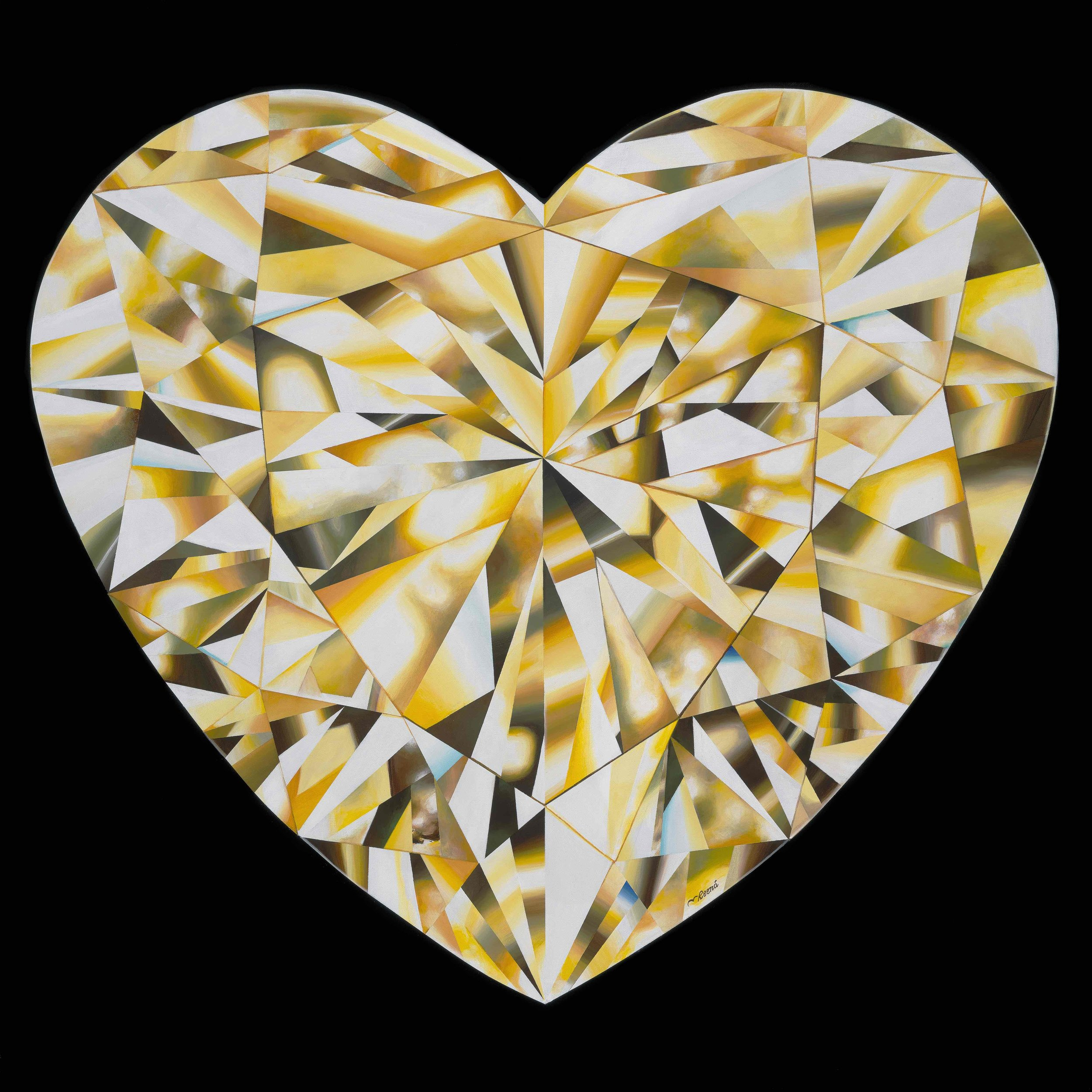 'Heart of Gold' - Portrait of a Yellow Heart-Shaped Diamond. 36 x 36 inches. Acrylic on Canvas. ©Reena Ahluwalia.    More about the painting and process here   .