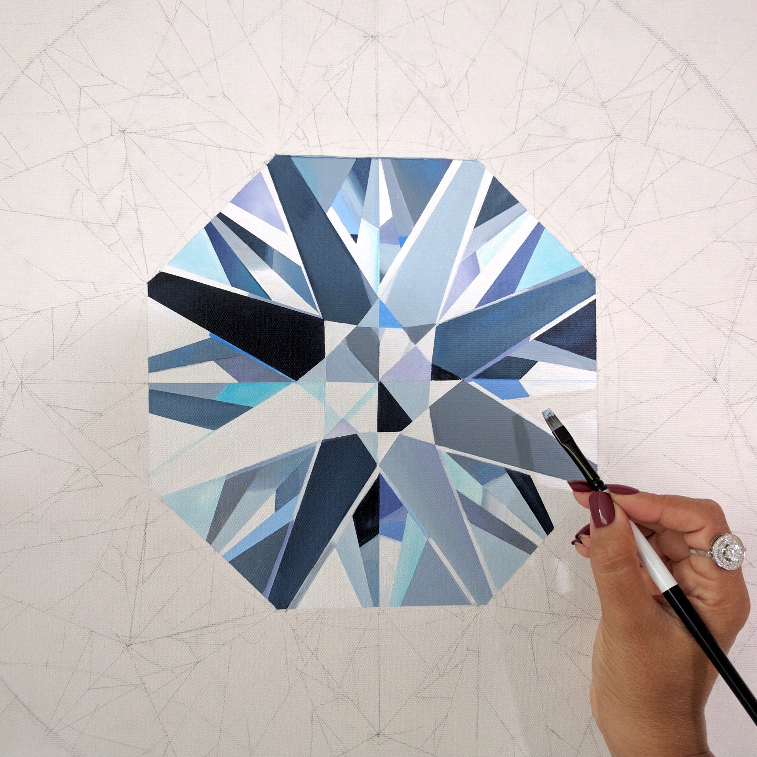Close up detail of one of the seven round brilliant diamonds. Making of the 4-feet Coronet Diamond Painting by Reena Ahluwalia. ©Reena Ahluwalia