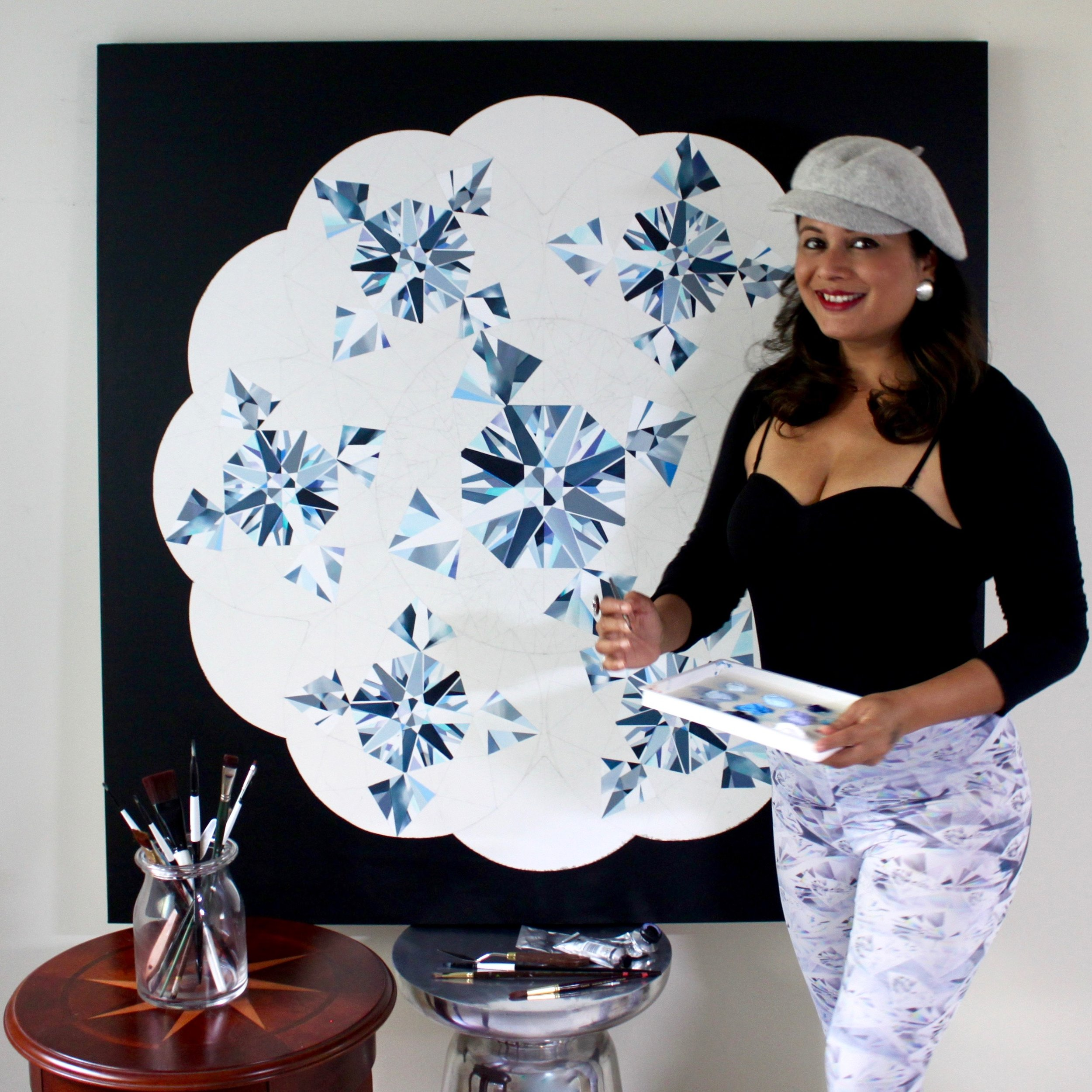 Magnificent Seven (diamonds) in this painting! To me it looked like a dazzling Kaleidoscope. Making of the 4-feet Coronet Diamond Painting by Reena Ahluwalia. ©Reena Ahluwalia