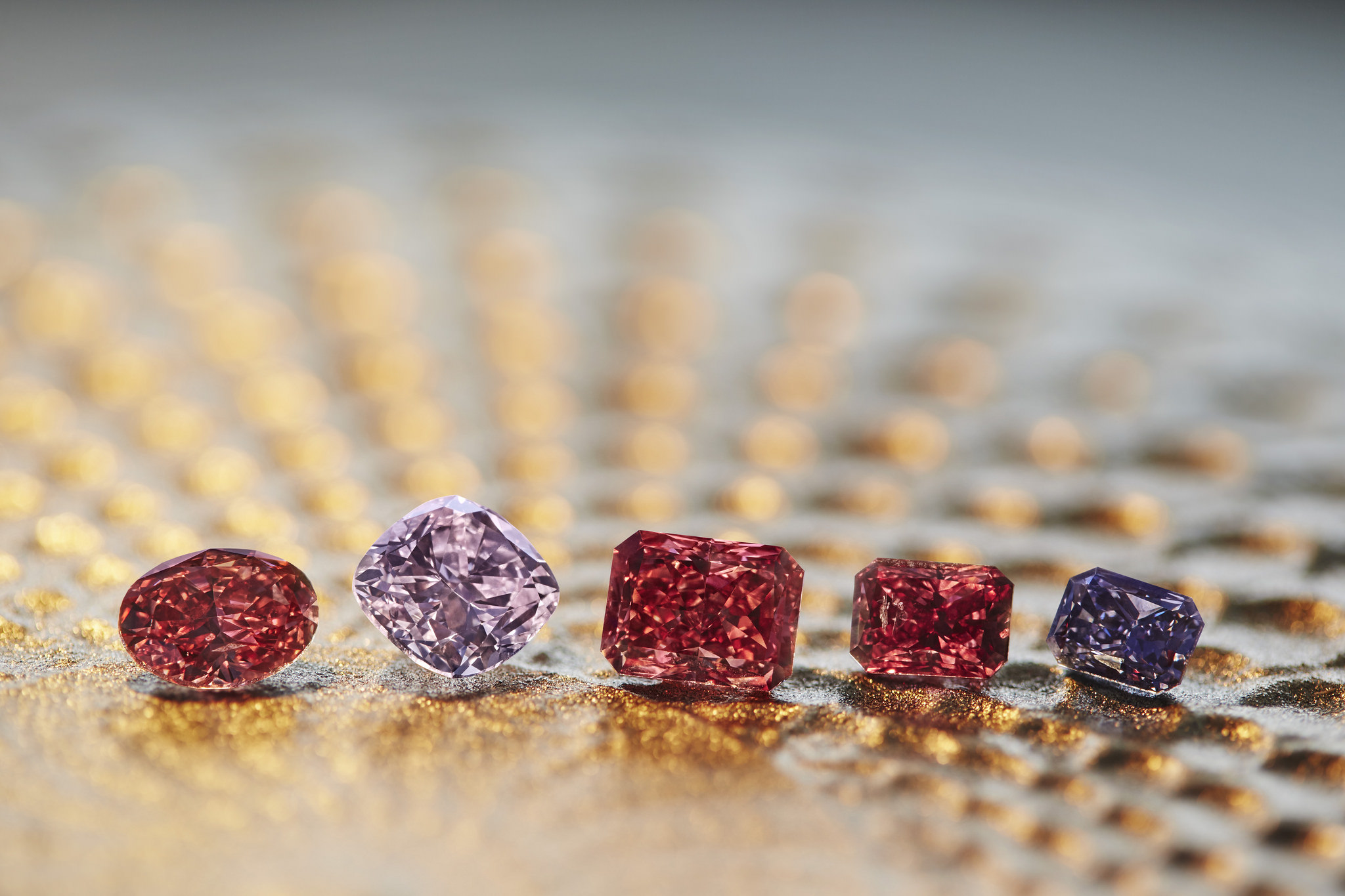 2017 Argyle Pink Diamonds Tender. The 58 diamonds in the 2017 tender weigh a total of 49.39 carats, including four Fancy Red diamonds, four Purplish Red diamonds, two Violet diamonds, and one Blue diamond. Image: Rio Tinto