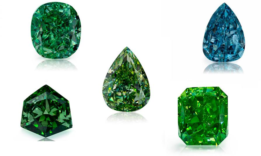 """Optimum Diamonds LLC's's rare natural fancy color green diamonds from """"Gamma"""" collection. These rare diamonds were exhibited in the Natural History Museum of Los Angeles County (NHMLA) in an exhibition called """"Green Diamonds: Natural Radiance"""". Image credit:    Optimum Diamonds LLC   , Copyright ©Digital Jewelry Photography"""