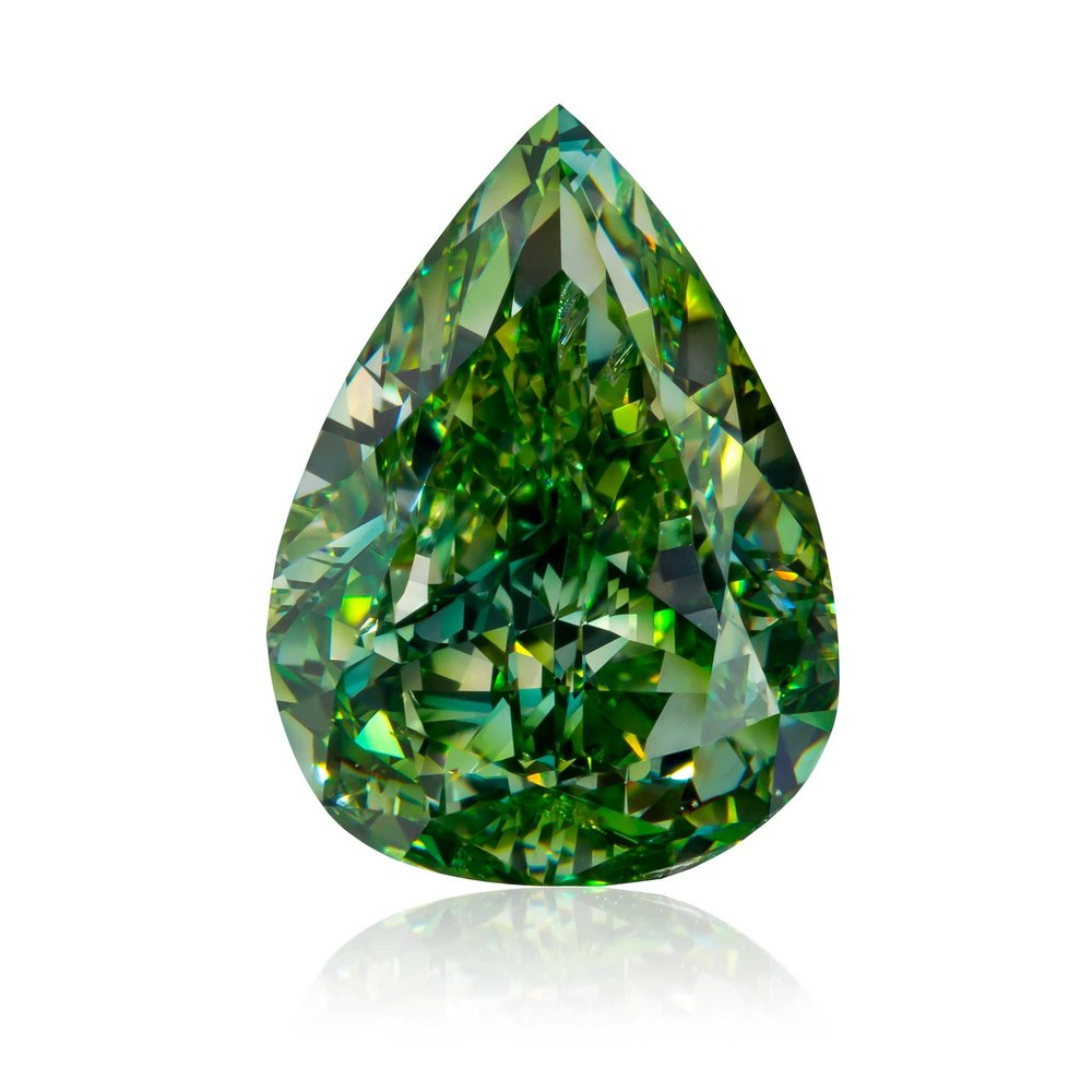 """""""The Mantis"""", the largest vivid yellowish-green diamond ever graded by the Gemological Institute of America. 4.17ct Vivid Yellowish Green Diamond. From Optimum Diamonds LLC's's rare natural fancy color green diamonds """"Gamma"""" collection. Image credit:    Optimum Diamonds LLC   , Copyright ©Digital Jewelry Photography"""