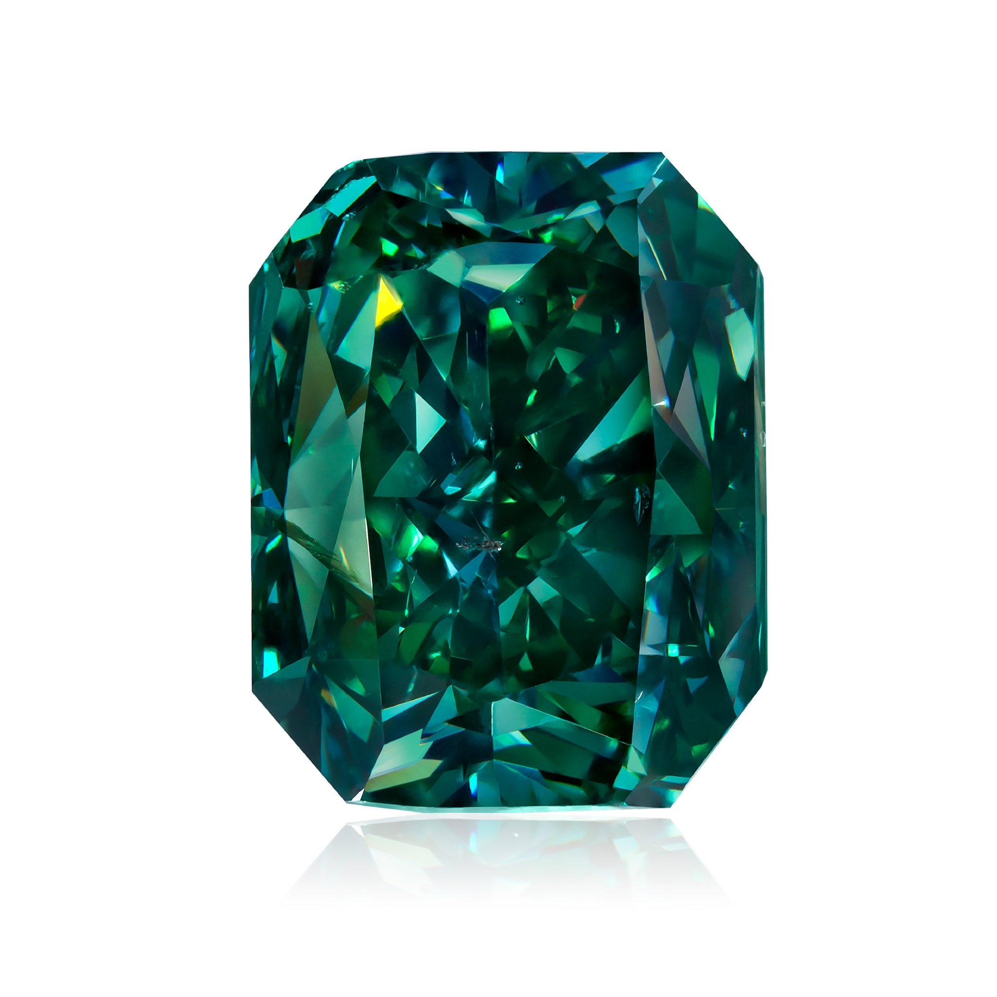 """""""The Shangri-La"""", a   3.88 Fancy Vivid Green diamond from The Optimum Gamma Green Collection, a collection of the most rare and prestigious natural green diamonds in the world, with more than 50 stones accrued over 20 years. Image credit:    Optimum Diamonds LLC   , Copyright ©Digital Jewelry Photography"""