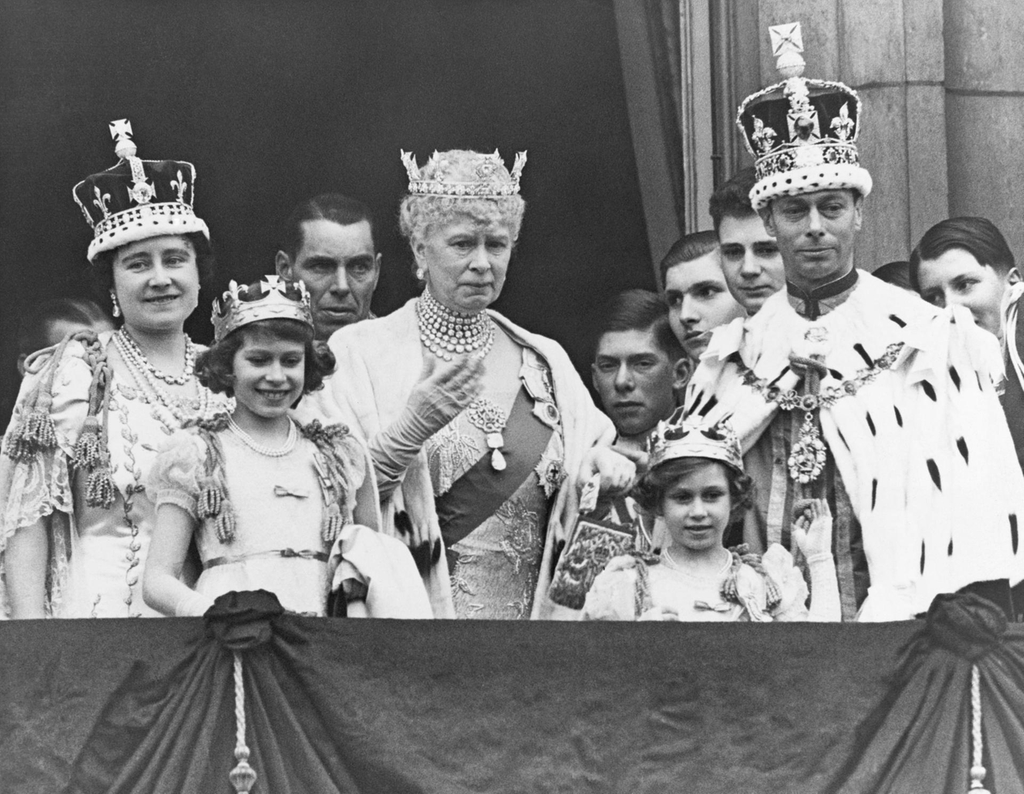 Left, the Koh-i-Noor made an appearance during the coronation of King George VI worn by his wife, Elizabeth. May 12, 1937. Today, the Koh-i-Noor sits in the crown of the Queen Mother, as part of the front cross. It last made a public appearance in April 2002, when the crown was placed on top of the Queen Mother's coffin at her funeral. Image: Corbis via Getty Images.