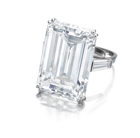 The largest of the gems cut from the Woyie River Diamond is the    Victory Diamond   , a step-cut diamond weighing 31.34 carats, seen here mounted as a ring between tapered baguette diamond shoulders. D Colour, VVS2 Clarity,    Type IIa    was sold by Sotheby's in 2014. Image: Sotheby's