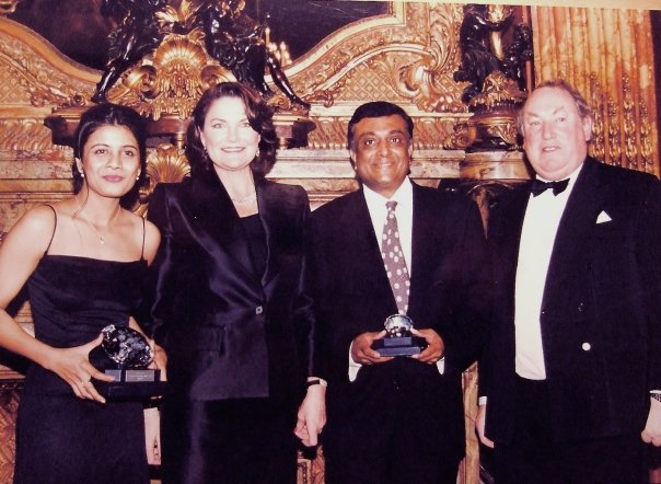 The Millennium Star diamond was first displayed as the centerpiece of the De Beers Millennium diamond collection at Louvre in Paris. I was fortunate to hold the diamond, I was at Louvre receiving my 'De Beers Diamonds International Award' in design excellence. Image: L to R: Designer Reena Ahluwalia receiving the    'De Beers Diamonds International Award'   , Antoinette Oppenheimer, Ketan Parikh (representing Mehendra Brothers Group at the awards, now with Ketan Brothers Diamondz Exports), Anthony Oppenheimer, De Beers Group. Louvre, Paris. 2000.