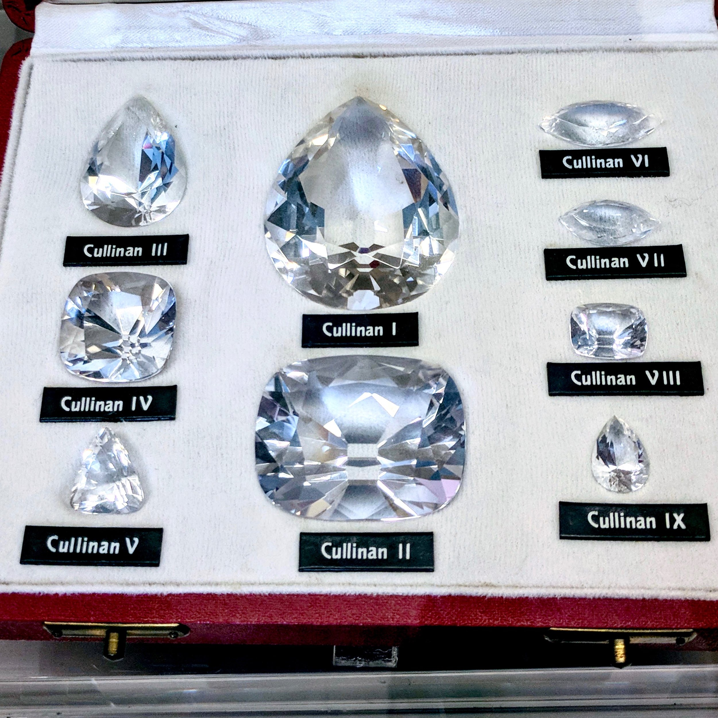 Replica of the 9 largest stones polished from the Cullinan diamond. Image: Taken by Reena Ahluwalia, at L'École des Arts Joailliers, Van Cleef & Arpels. Paris