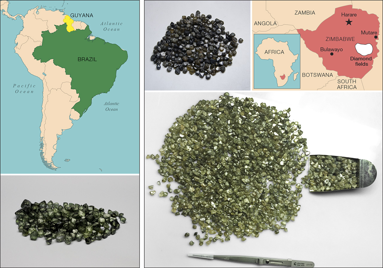 """Modern production of green diamonds has come from mines in Guyana and Brazil (left) as well as Zimbabwe (right). The dark brown to greenish """"skins"""" seen on the surfaces of the rough diamonds are due to radiation damage. Image credit: GIA"""