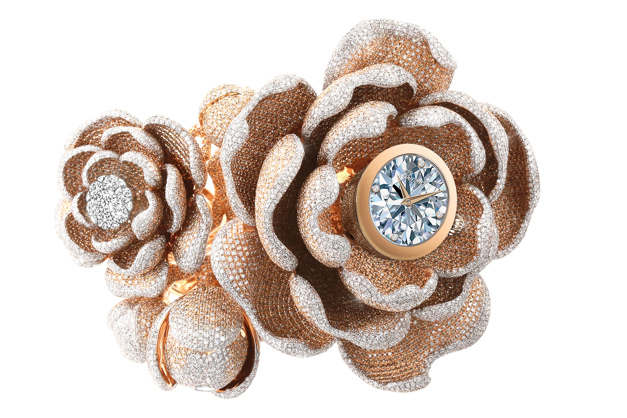 The Guinness World Records CORONET 'Mudan' diamond watch features 15,858 diamonds - most diamonds set in a watch. The watch is set in 18K gold with artist Reena Ahluwalia's unmatchable diamond painting on the dial. The watch is a co-creation between Aaron Shum and Reena Ahluwalia.