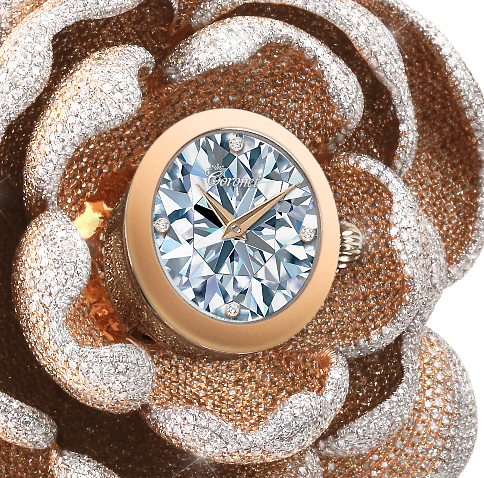 Detail. The Guinness World Records CORONET 'Mudan' diamond watch features 15,858 diamonds - most diamonds set in a watch. The watch is set in 18K gold with artist Reena Ahluwalia's unmatchable diamond painting on the dial.