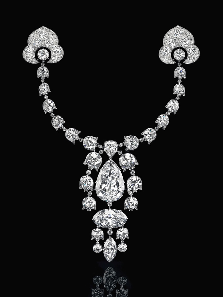 Devant-de-Corsage brooch, 1912, Cartier. Pear brilliant-cut diamond of 34.08 carats, oval brilliant-cut diamond of 23.55 carats, modified marquise brilliant-cut diamond of 6.51 carats, heart modified brilliant-cut diamond of 3.54 carats, lily-of-the-valley old-cut diamond links, platinum and 18k white gold. Image: Christie's
