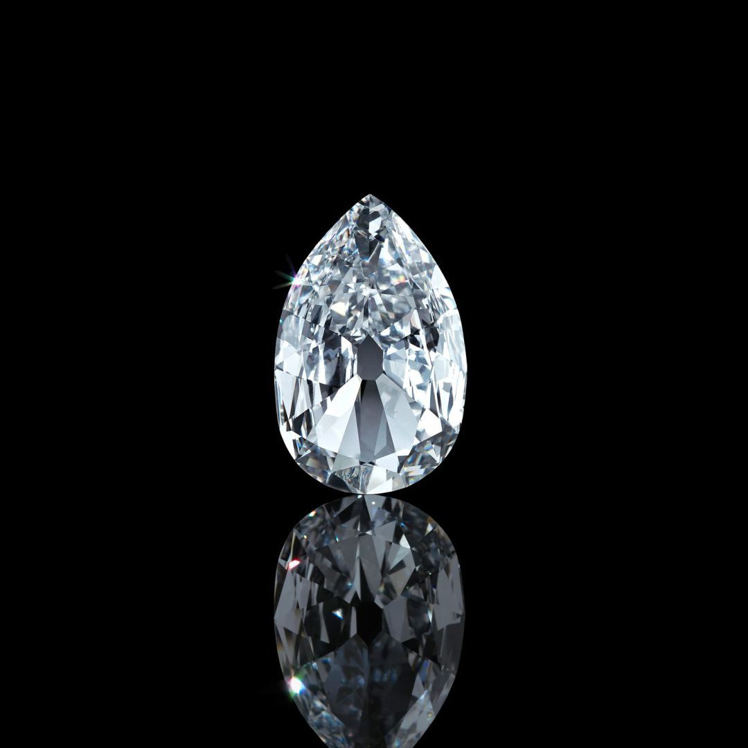 The Arcot II Diamond. Pear brilliant-cut diamond of 17.21 carats. The Arcot Diamond, a D-colour stone was one of two such diamond ear drops sent as gifts to Queen Charlotte (1744-1818), the wife of King George III, from the Nawab of Arcot. The diamonds were later acquired at auction by the Marquess of Westminster and subsequently mounted in the Westminster Tiara, which was worn at the coronation of Queen Elizabeth II. Image: Christie's
