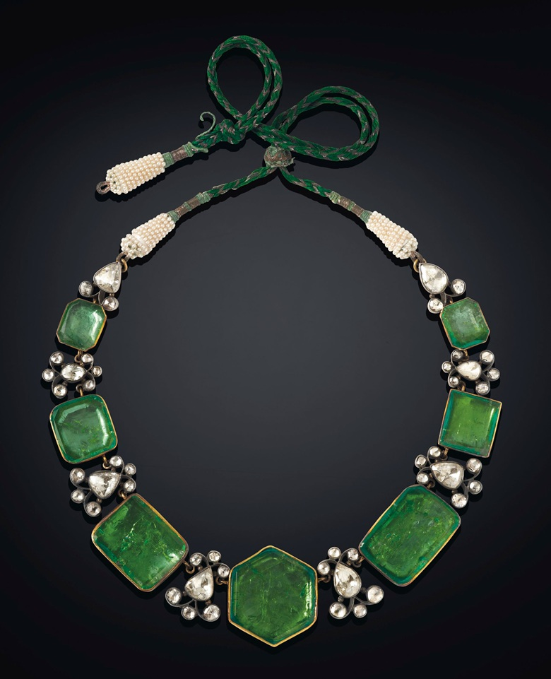An emerald, diamond and seed pearl necklace, Colombian emeralds, mid- to late-19th century. Image: Christie's