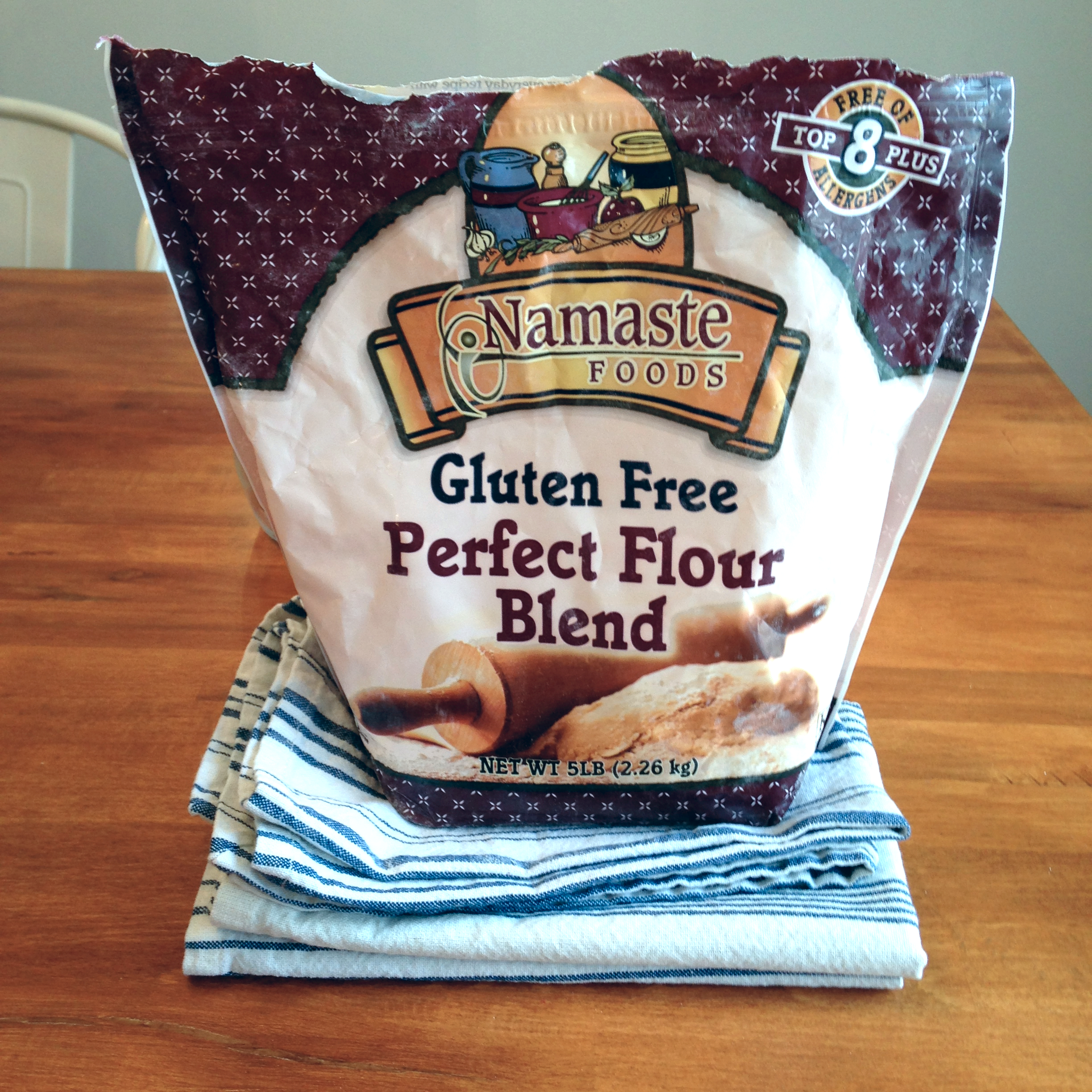 If you don't want to make your own blend, I highly recommend this mix. The texture is very similar to wheat flour, and it doesn't contain potato starch. This brand comes from Costco.