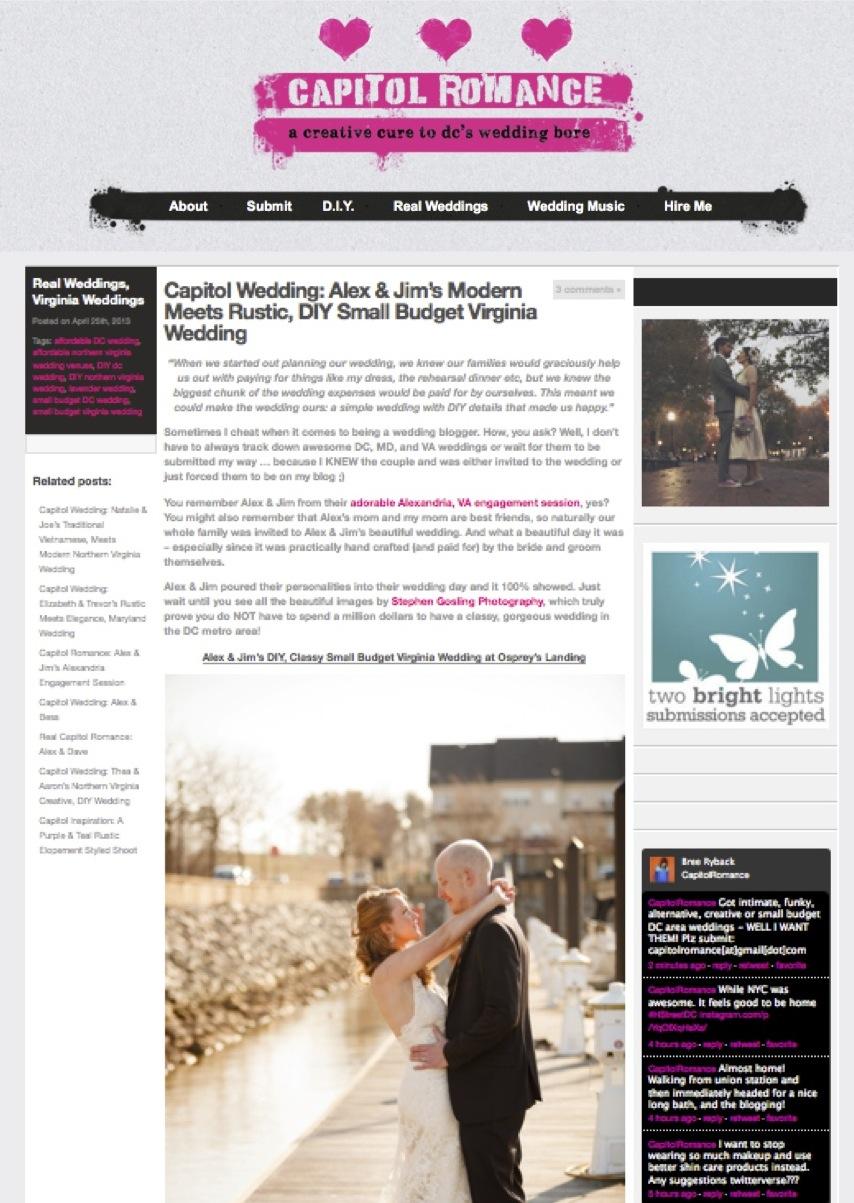 Alex & Jim's Modern Meets Rustic, DIY Small Budget Virginia Wedding