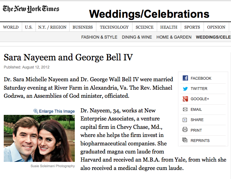 Sara + George announced in The New York Times – she wore a Mikaella gown from Ellie's Bridal Boutique