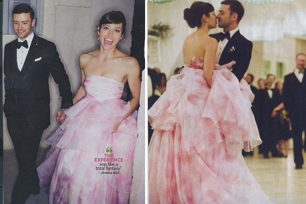 Jessica Biel wears a petal pink gown by   Giambattista Valli Haute Couture  .