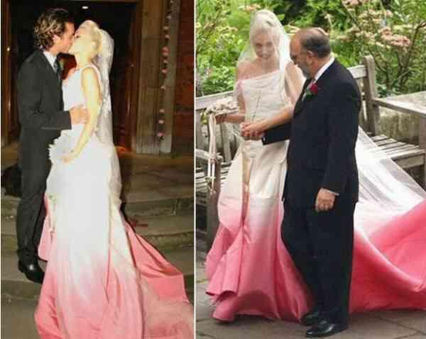 Gwen Stefani wears    a custom-made pink and white silk faille wedding dress by  John Galliano for Dior