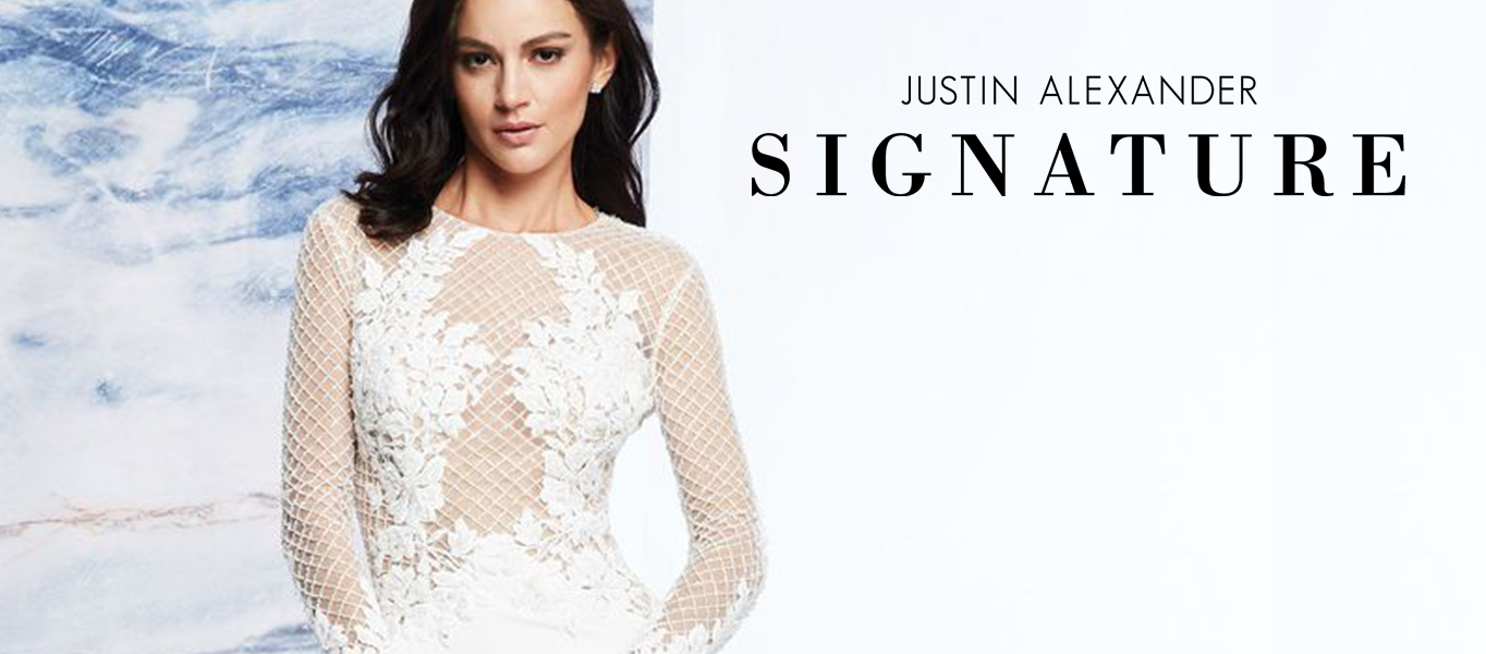 Try on Justin Alexander Signature wedding gowns at Ellie's Bridal Boutique (Alexandria, VA)