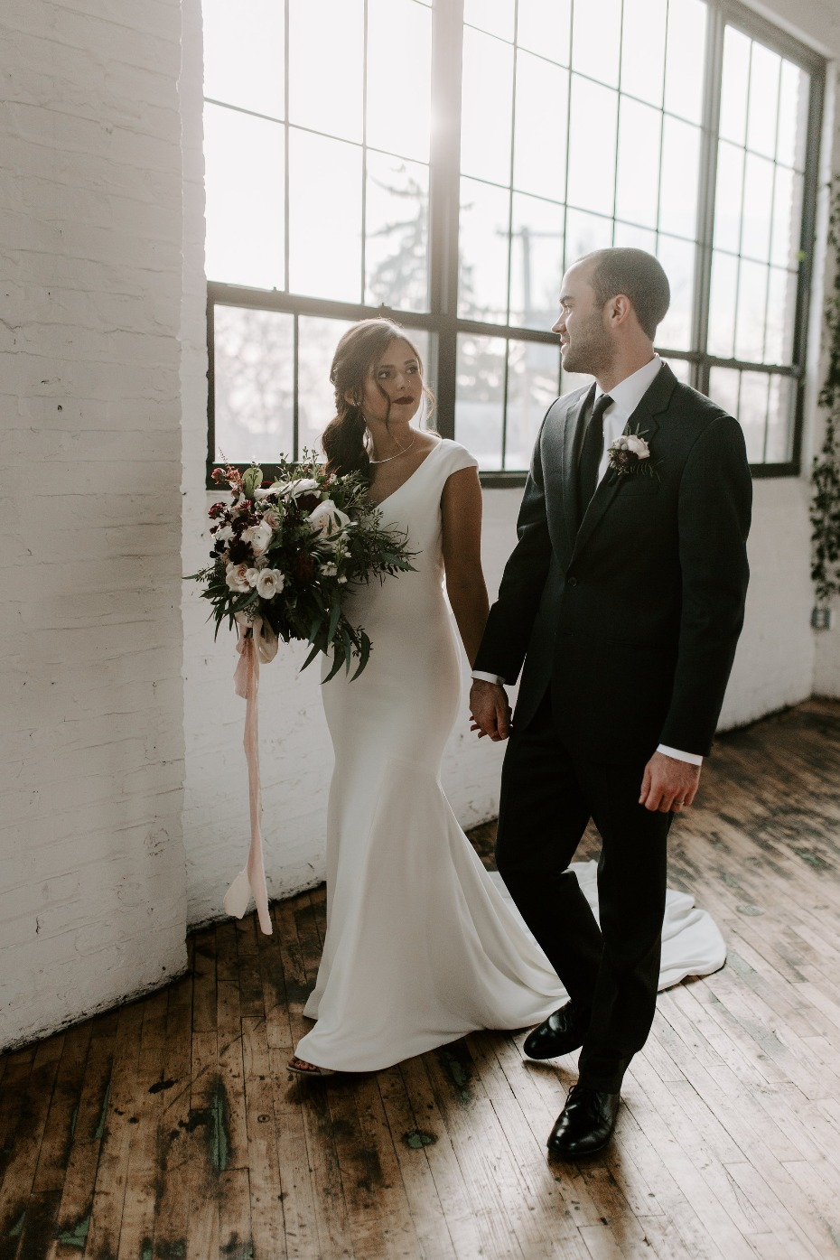 Wedding Chicks - Minimalist Industrial Winter Wedding with Blush and Burgundy Accents
