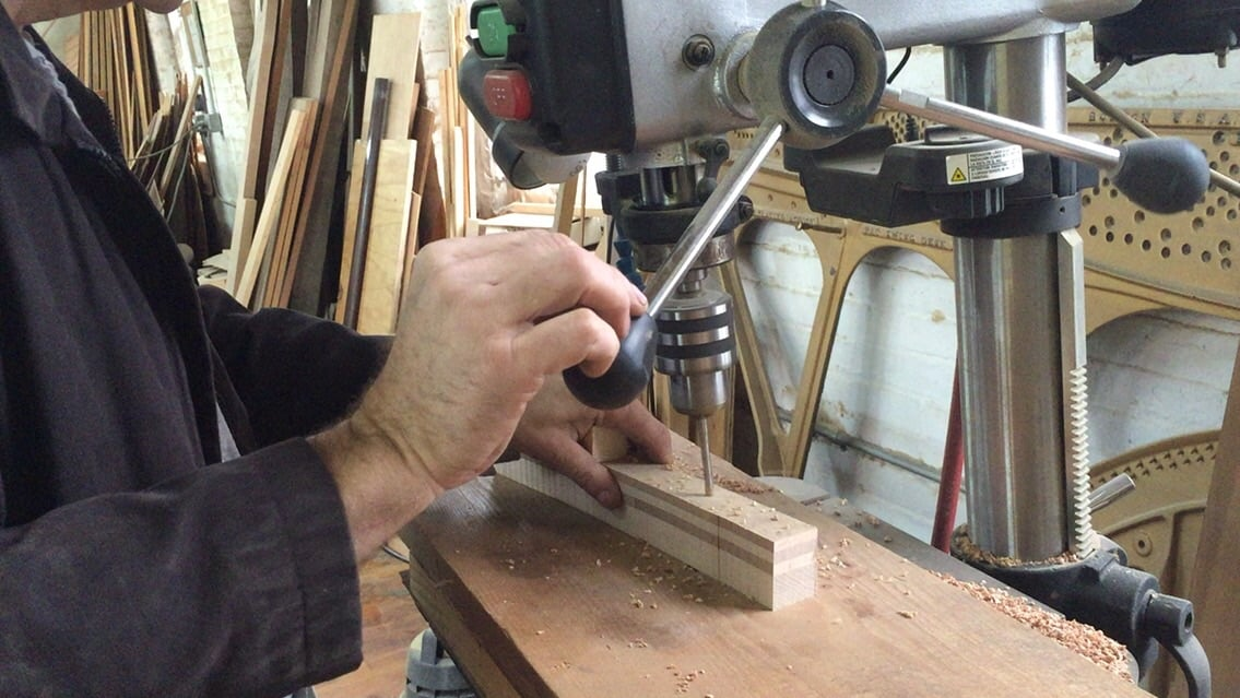 Demonstration of making hole to pin block