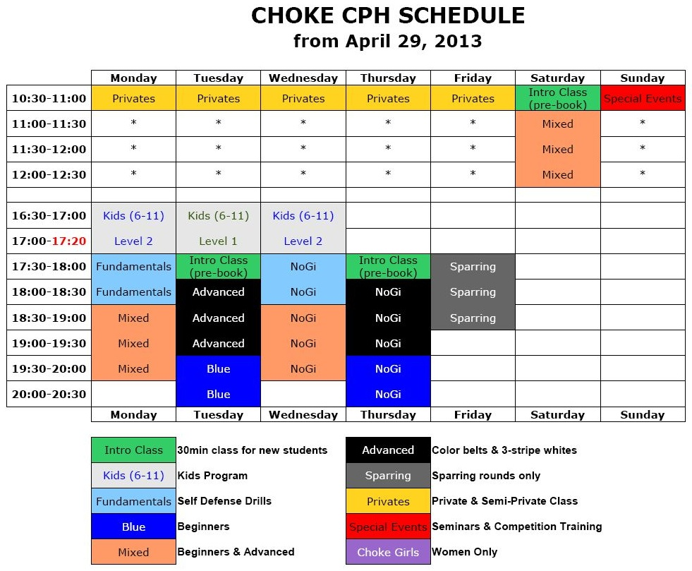 Choke CPH Weekly Training Schedule