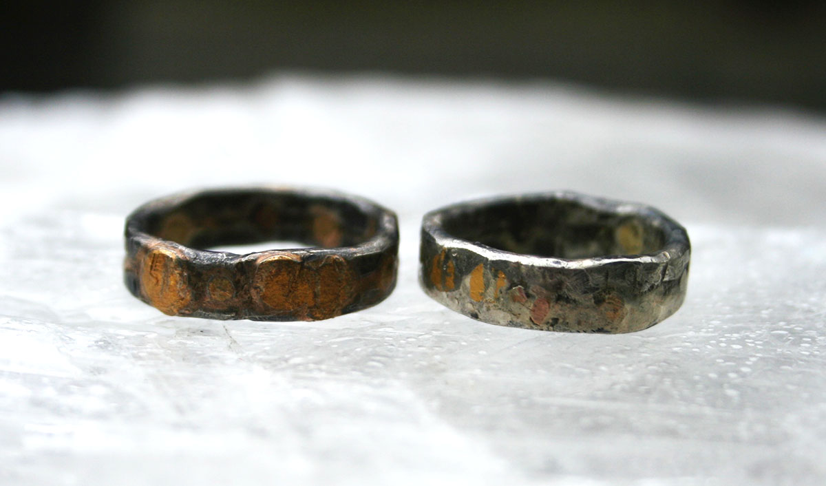 Mixed Metal Patina - The darkened silver on our mixed metal bands will brighten with wear. The darkness will hold in areas of the band that have tool marks. Over time the band will develop its own patina/unique texture. With all ring purchases we will provide our Anti-Polish for you to re-darken the silver to return it to its original look but the same brightening process will occur with wear.
