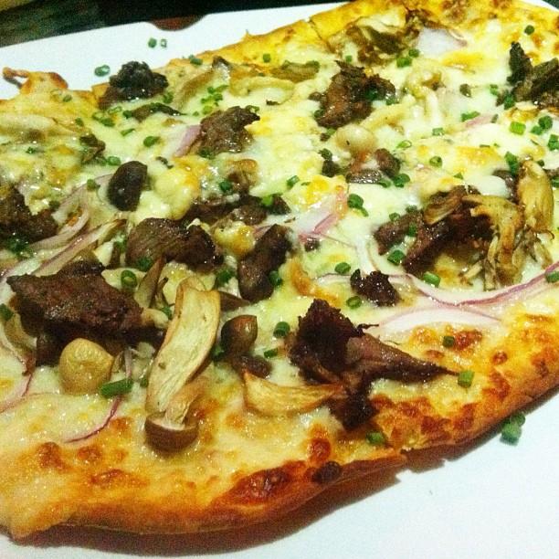 Steak, onions, mushrooms