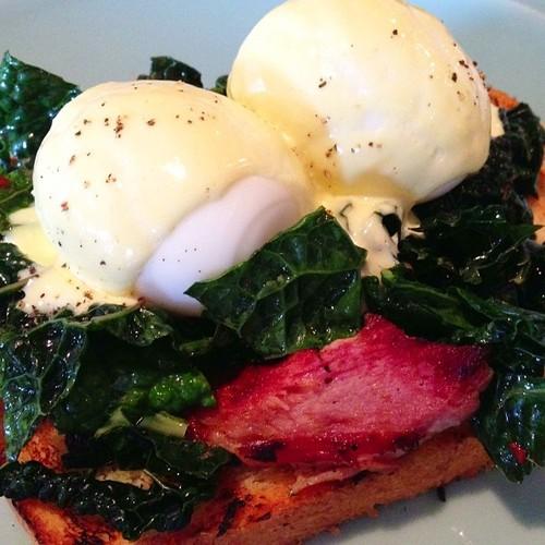 Toasted brioche, House ham, Kale, Soft-boiled egg, Hollandaise. Brunch, Orlando, Winterparkfl