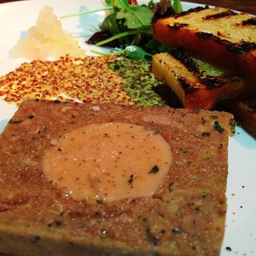 Foie gras, Bing cherries, Whole grain mustard, Pickled watermelon rind, Garlic crostini