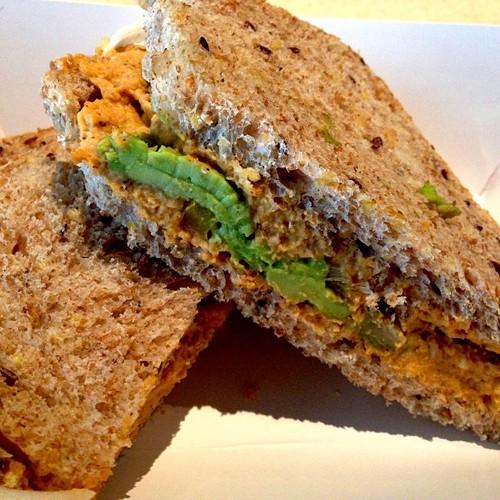 Hummus & Grilled Veggie on gluten-free bread