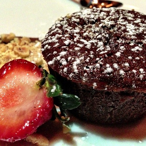 Chocolate and hazelnut molten cake
