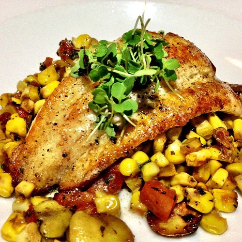Local Seafood with succotash of sweet corn, beans, tomato, our garden lemon-thyme butter