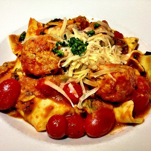 House made pasta with sausage meatballs, escarole, roasted tomato, parmesan cheese