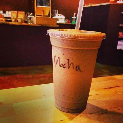 Dark chocolate, coffee, banana, almond milk, whey protein.