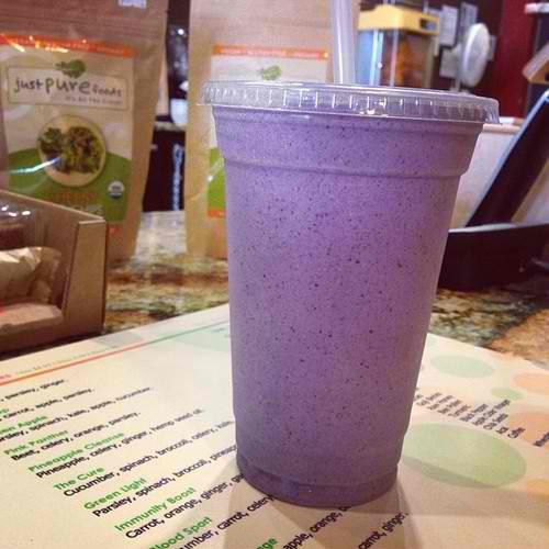 Almond milk, banana, peanut butter, blueberry, granola, whey protein