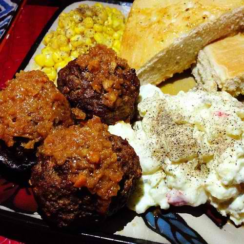 Meatballs Plate with potato salad and corn. Tasty, filling and good value