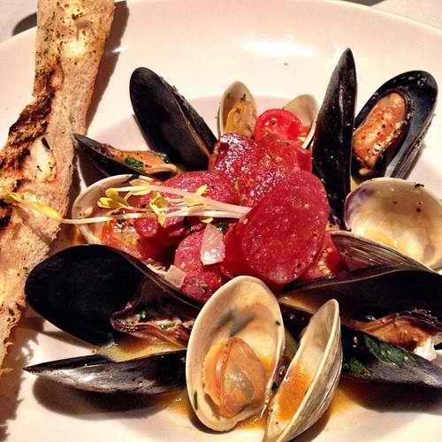 Appetizer Sautéed Mussels & Florida Clams: Tomato Broth with Chorizo