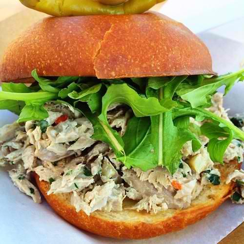 Tuna fish salad roll @ LaBretxaFL @eastenmkt House poached yellowfin, market garden arugula, Old Hearth briosche