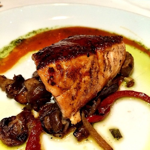 SO TASTY! Barbecue Scottish Salmon Fillet @ Flemings slow roasted, mushroom salad, barbecue glaze