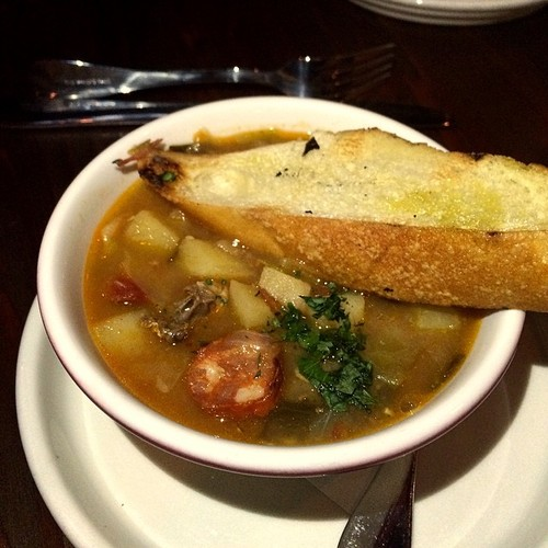 Caldo Gallego @TxokosKitchen traditional hearty stew, beef, pork, beef, greens