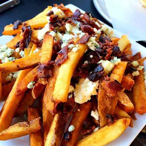 Creamy blue and pecan-smoked bacon fries (fried in peanut oil)